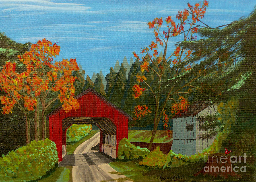Path Painting - Covered Bridge by Anthony Dunphy