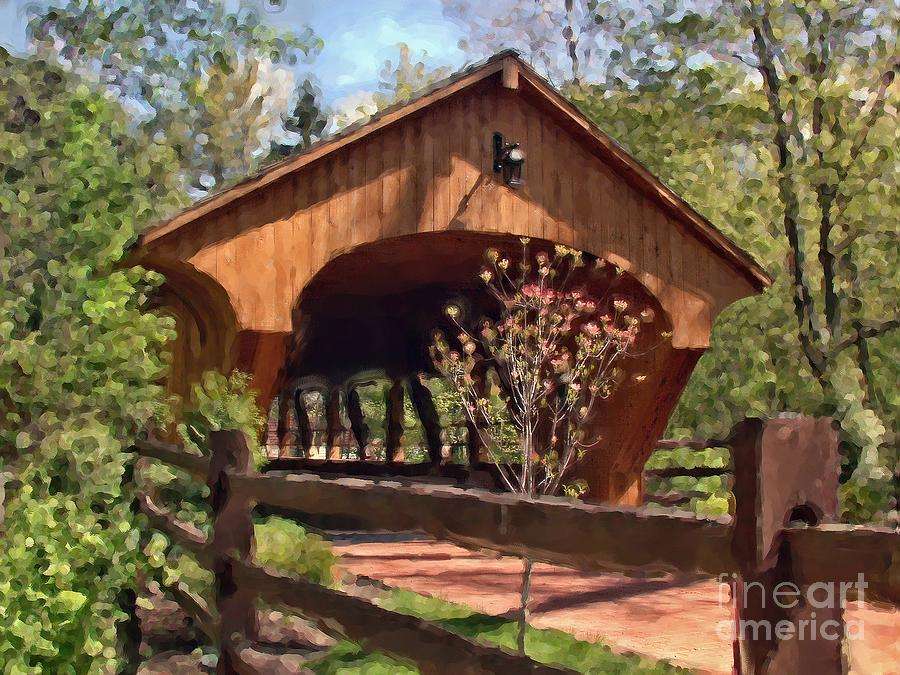 Covered Bridge At Olmsted Falls-spring is a photograph by Mark Madere ...