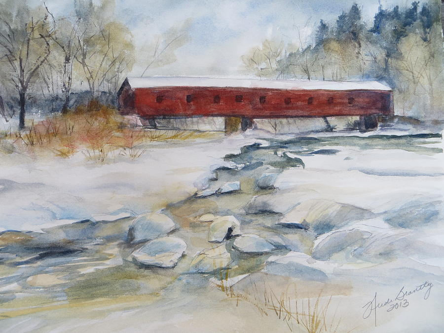 Covered Bridge In Snow Painting  - Covered Bridge In Snow Fine Art Print