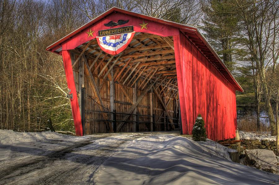 Covered Bridge In Snow Photograph