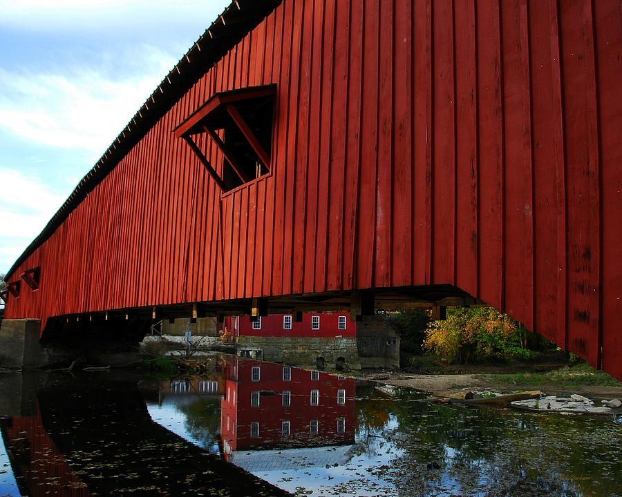 Covered Bridge Reflections Photograph