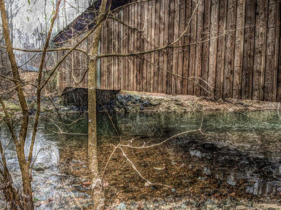 Covered Bridge Snowy Day Photograph