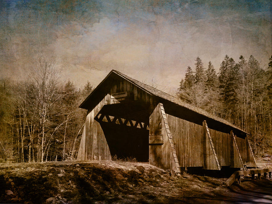 Covered Bridge-textured Image Photograph  - Covered Bridge-textured Image Fine Art Print