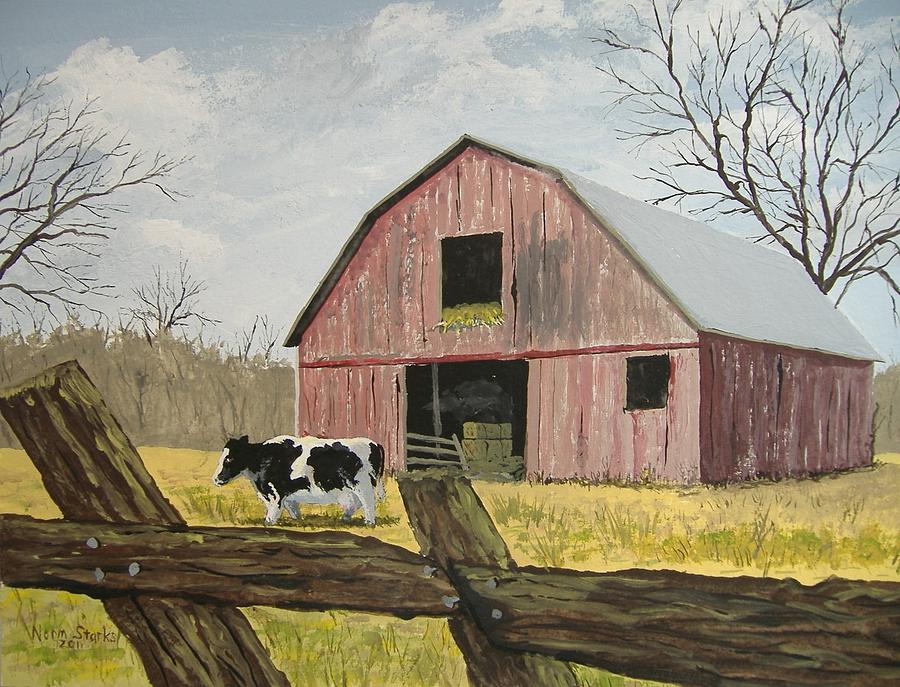 Cow And Barn Painting by Norm Starks