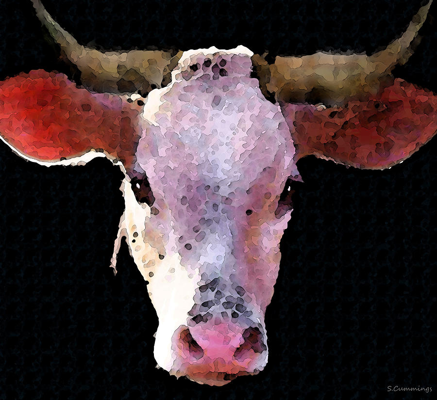 Cow Art - Crazy Girl Painting  - Cow Art - Crazy Girl Fine Art Print