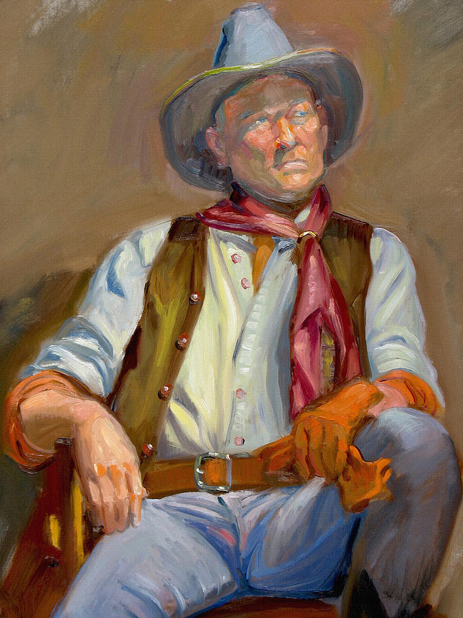 Cow-boy At Rest Painting