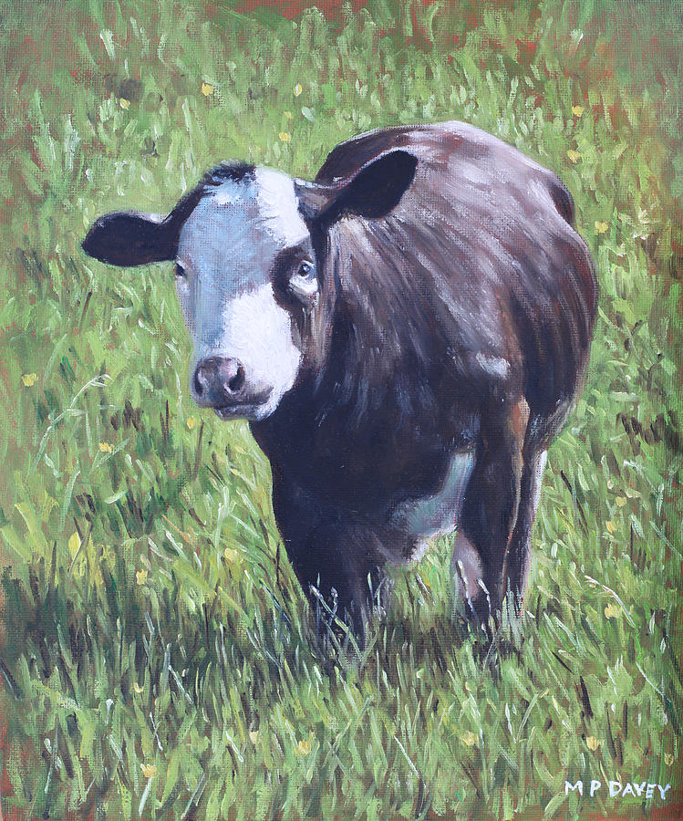 Cow In Grass Painting