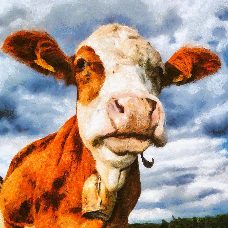 Cow Portrait Painting is a piece of digital artwork by Matthias Hauser ...
