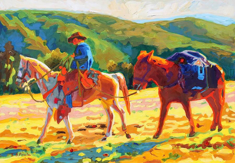 Cowboy Art Cowboy And Pack Horse Oil Painting Bertram ...