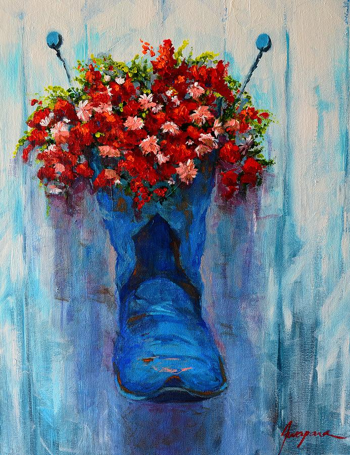 Cowboy Boot Unusual Pot Series  Painting  - Cowboy Boot Unusual Pot Series  Fine Art Print