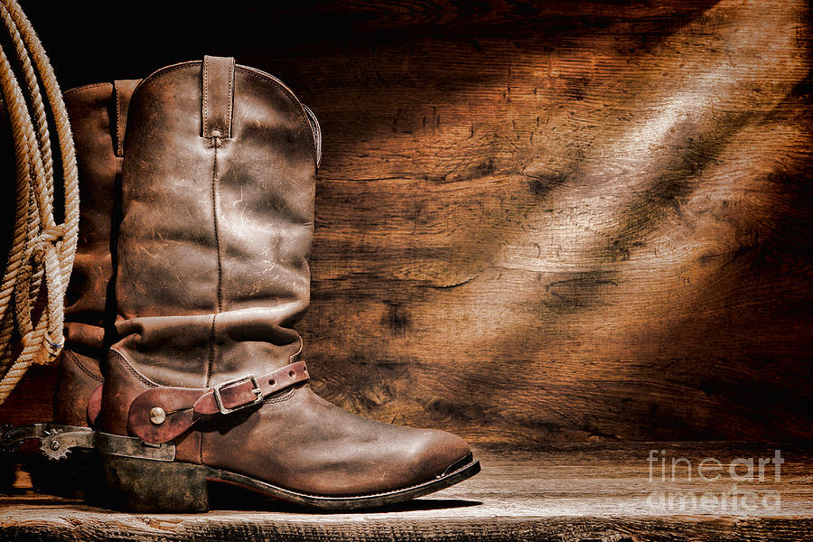 Cowboy Boots On Wood Floor Photograph