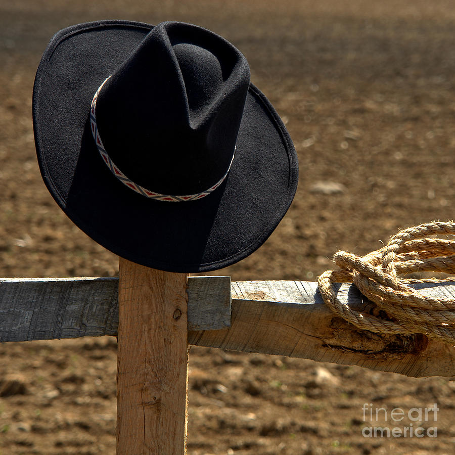 Cowboy Hat And Rope On