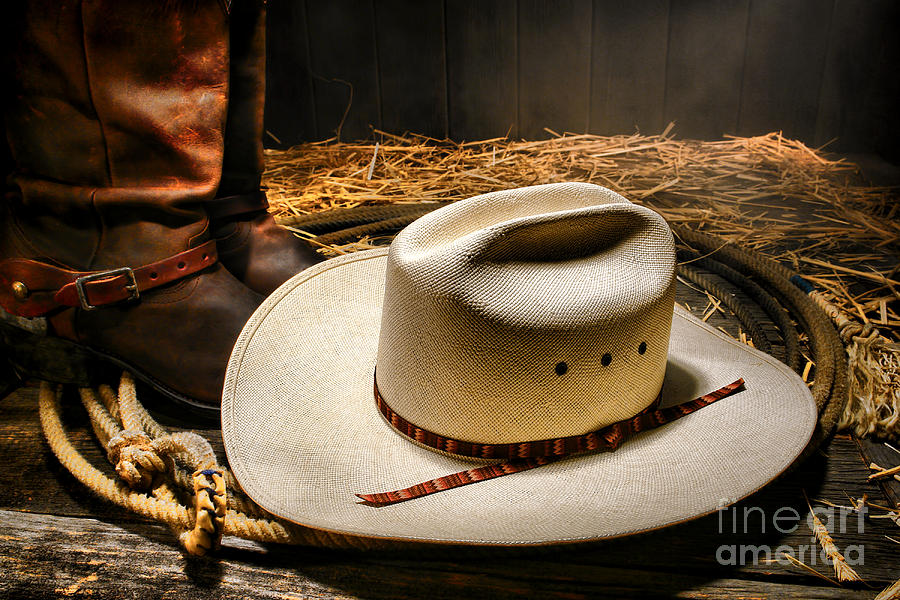 Western Photograph - Cowboy Hat On Lasso by Olivier Le Queinec