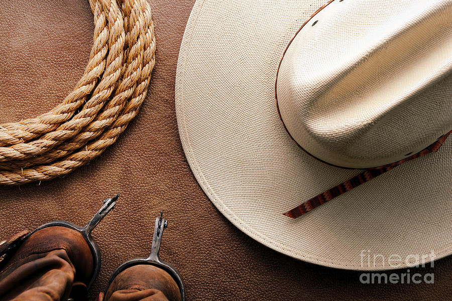Cowboy Hat With Spurs And Rope Photograph  - Cowboy Hat With Spurs And Rope Fine Art Print