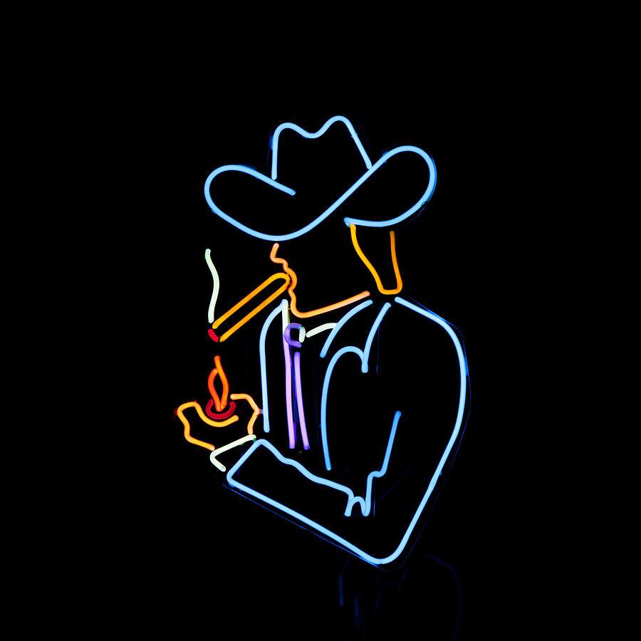 Cowboy In Neon Photograph