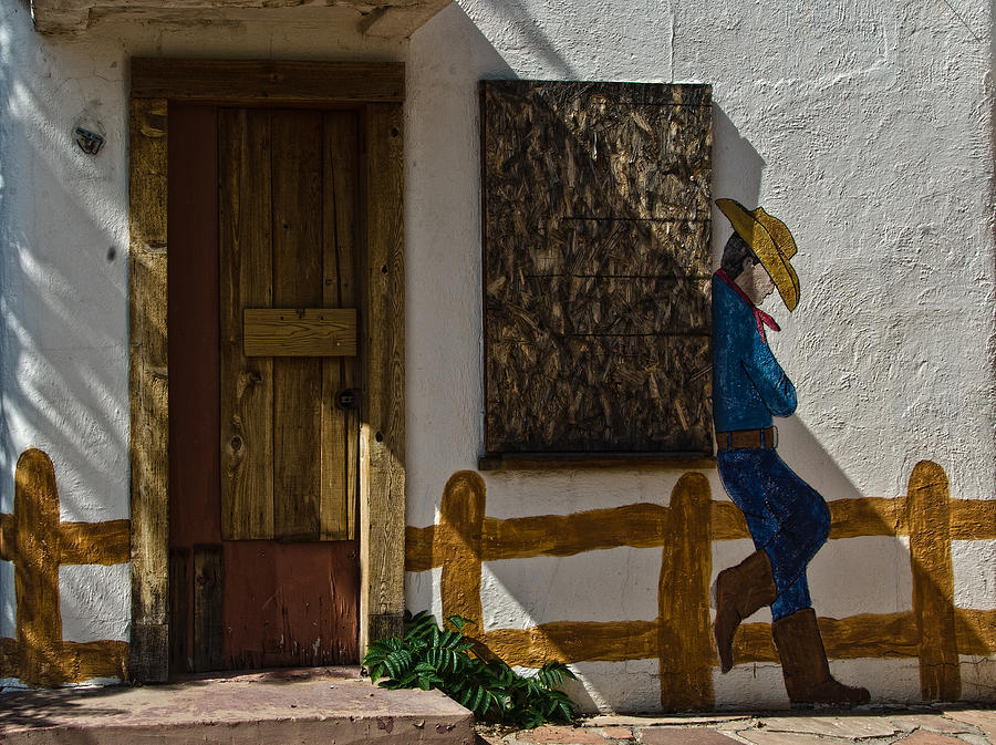 Cowboy Mural In Benson Arizona Usa Photograph  - Cowboy Mural In Benson Arizona Usa Fine Art Print