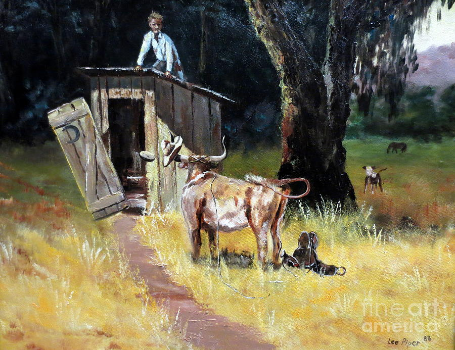 Cowboy On The Outhouse  Painting  - Cowboy On The Outhouse  Fine Art Print