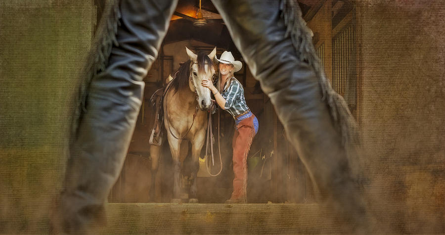 Animals Photograph - Cowgirl And Cowboy by Susan Candelario