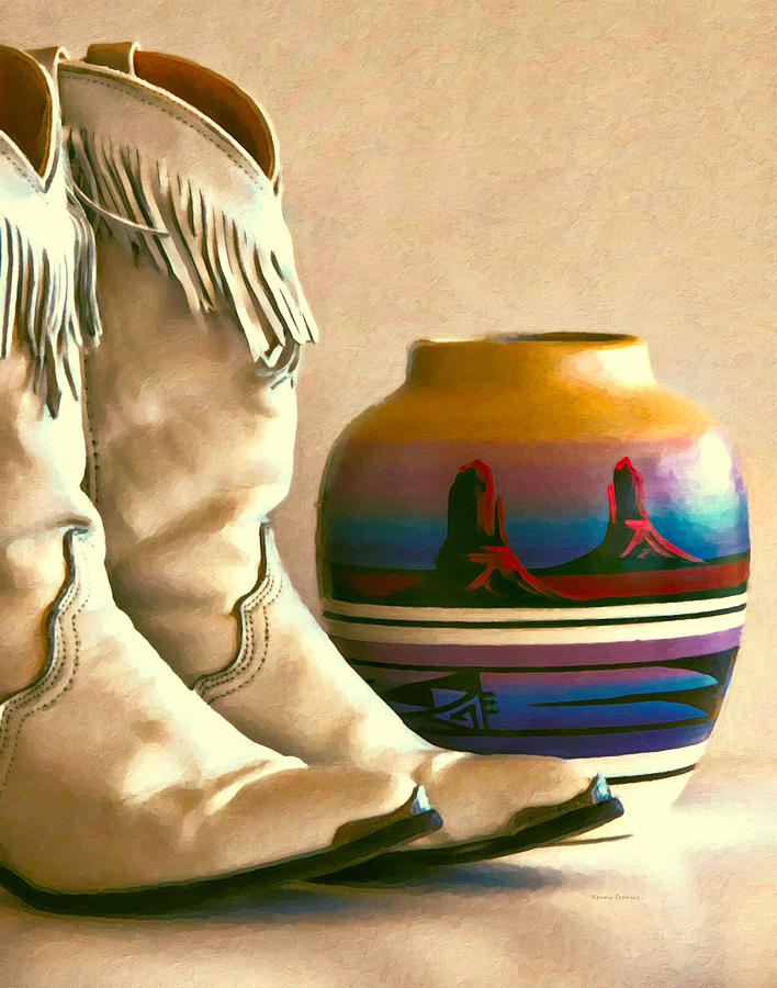 Cowgirl Boots With Fringe Photograph  - Cowgirl Boots With Fringe Fine Art Print