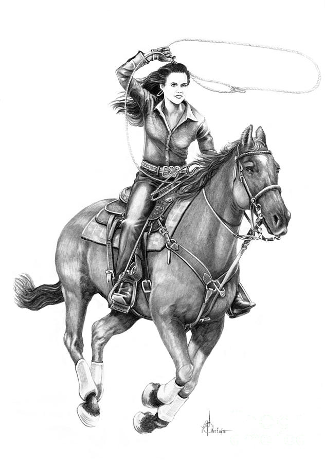 Cowgirl  Drawing  - Cowgirl  Fine Art Print