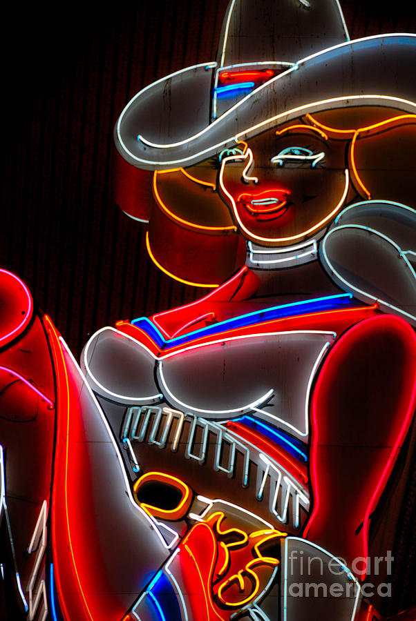 Cowgirl Neon Sign Fremont Street Las Vegas Photograph