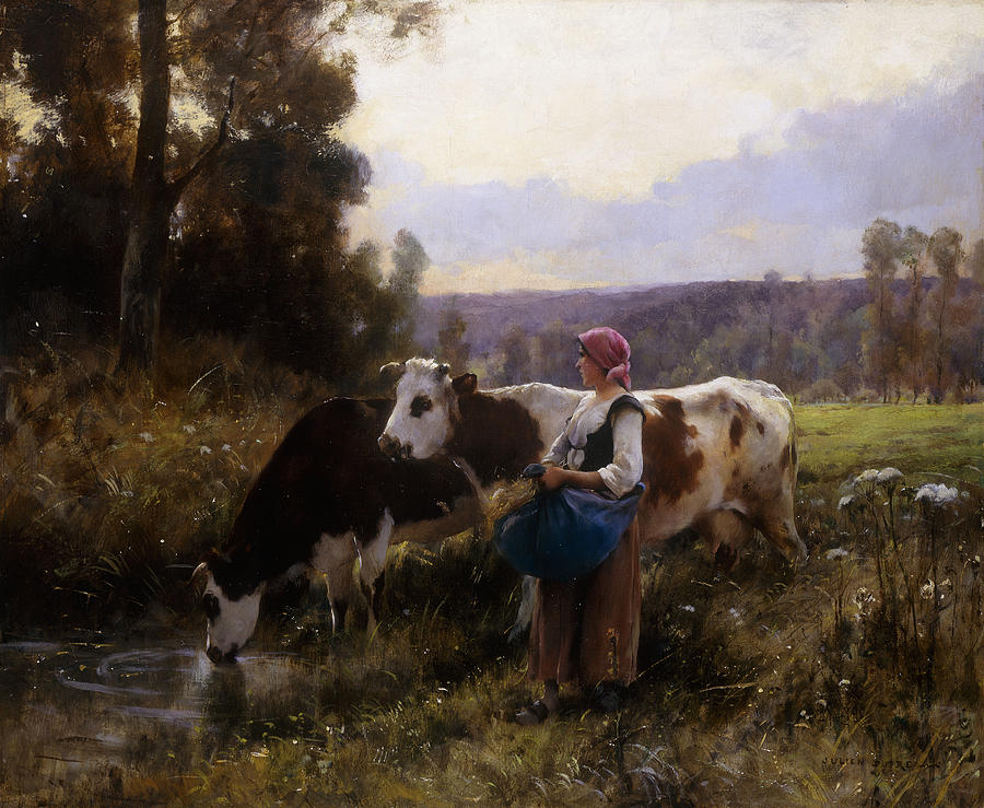 Cows; Cow; Watering; Hole; Cattle; Friesian; Holstein; Livestock; Cowherd; Woman; Female; Farmer; Rural; Provincial; Countryside; Remote; Lake; Water; River; Pool; Riverbank; Landscape; Lush; Green; Fertile; French; Summer; Sunshine; Farm; Meadow; Animal; Animals; Pasture; Painting - Cows At The Watering Hole by Julien Dupre