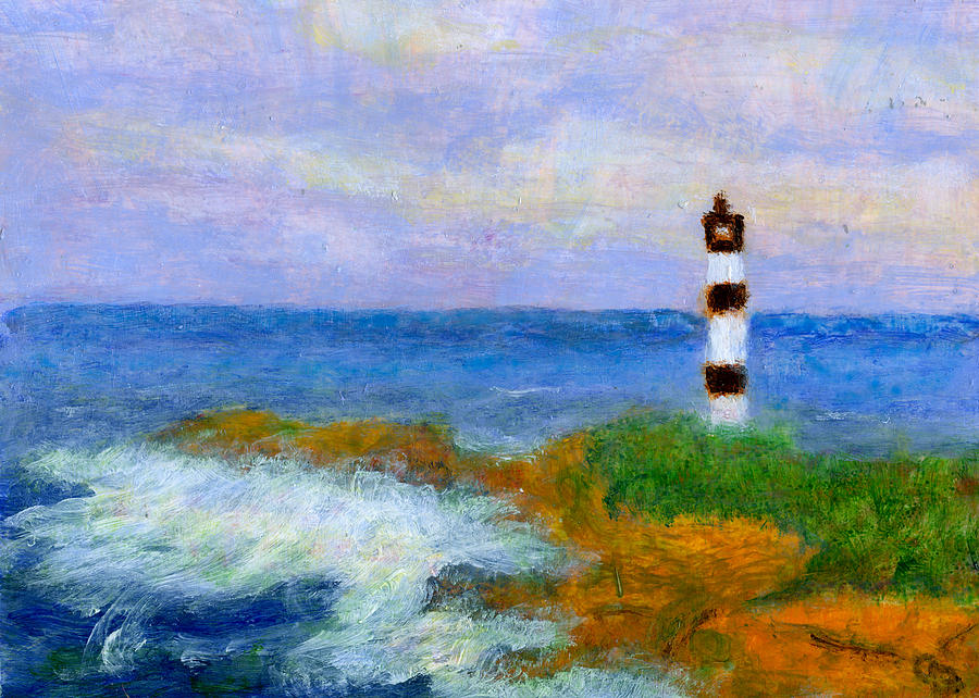 Crashing Waves By Lighthouse Painting  - Crashing Waves By Lighthouse Fine Art Print
