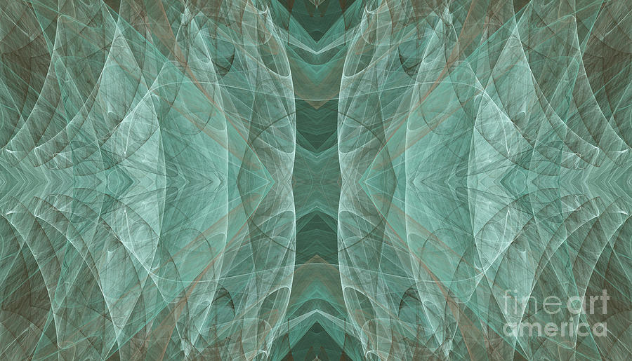 Crashing Waves Of Green 3 - Abstract - Fractal Art Digital Art
