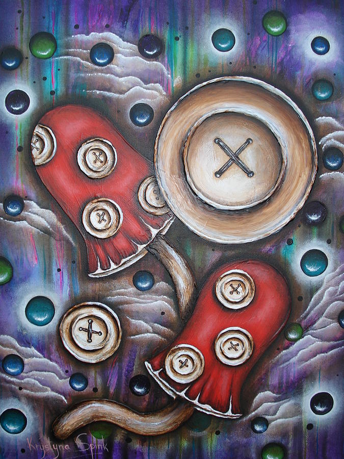 Crazy Button Mushrooms Painting
