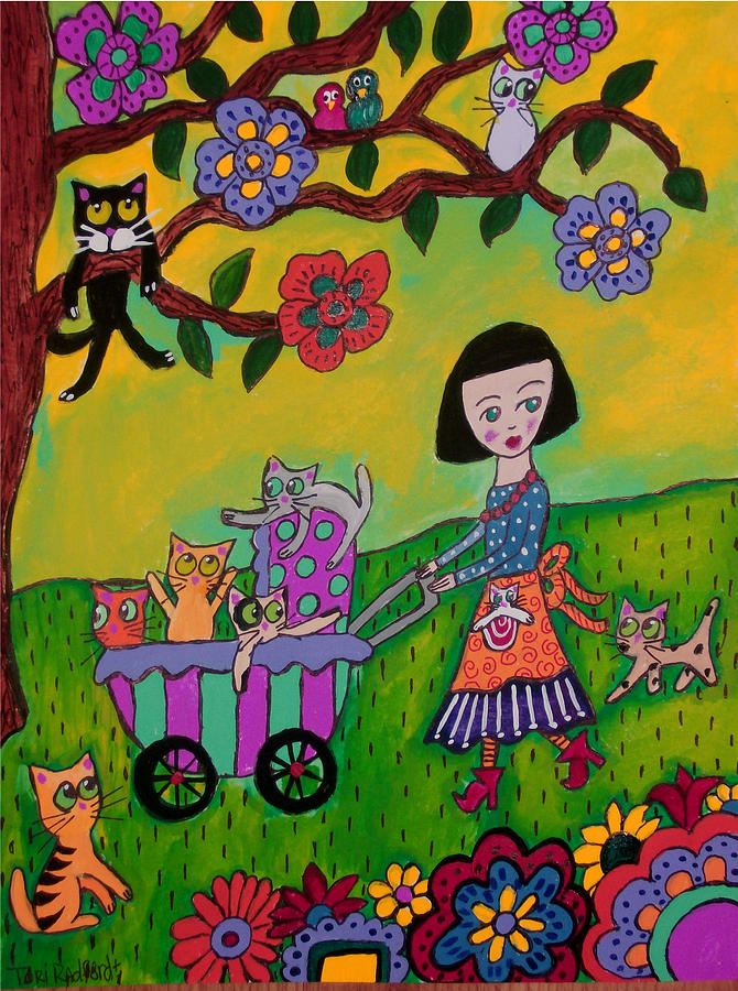 Crazy cat lady evening stroll painting by tori radford for Crazy mural lady