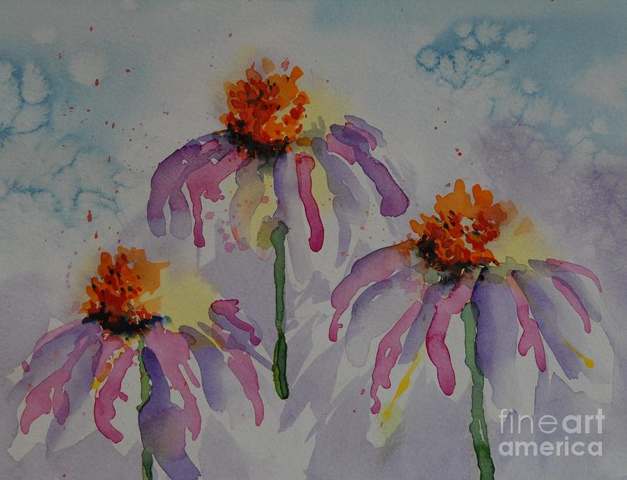 Crazy Cone Flowers Painting  - Crazy Cone Flowers Fine Art Print