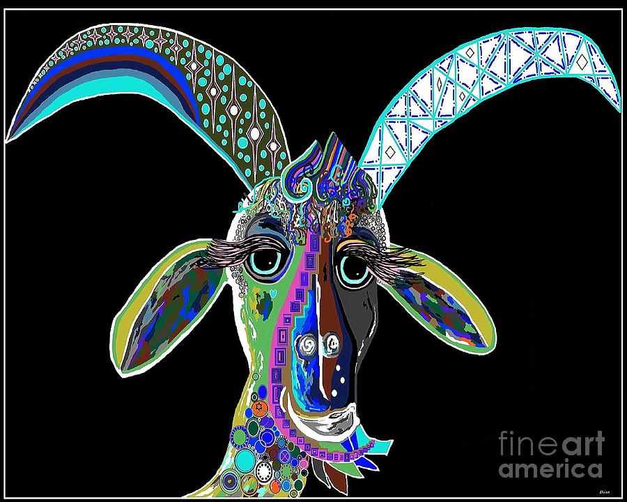 Crazy Goat On Black Background Painting  - Crazy Goat On Black Background Fine Art Print