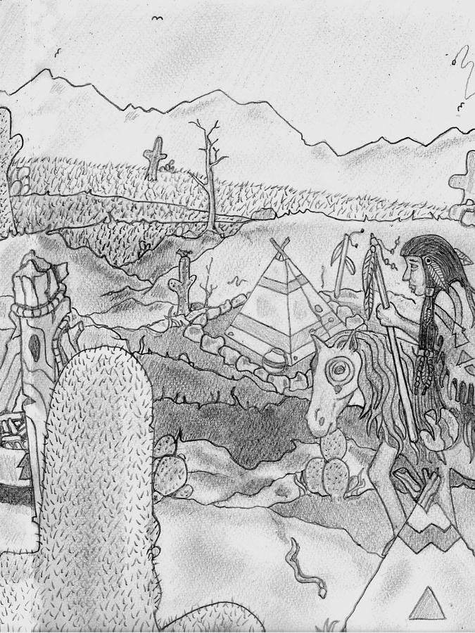 Indian Pencil Art Drawing - Crazy Horse Squaw  by Gerald Griffin