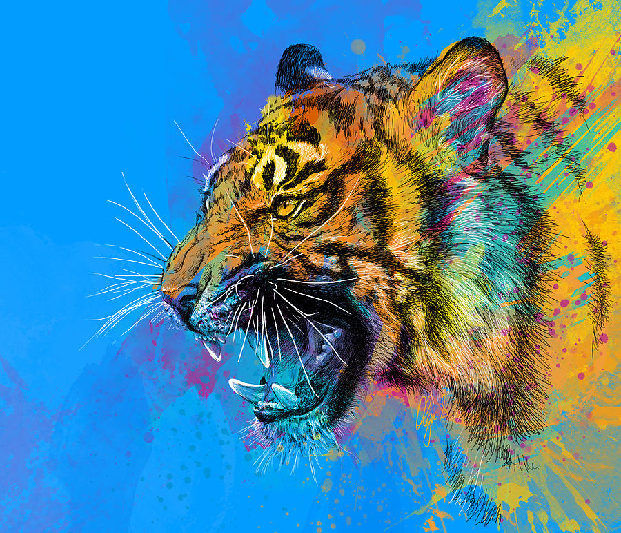 Tiger Digital Art - Crazy Tiger by Olga Shvartsur