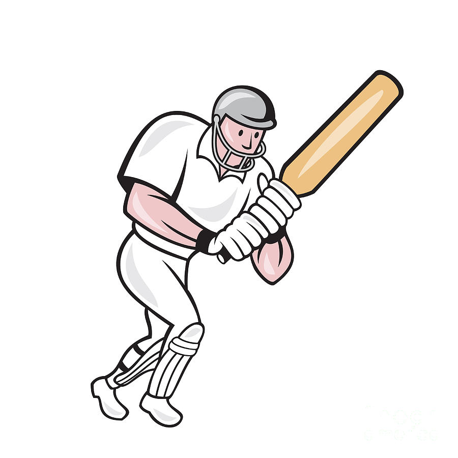 Cricket Player Batsman Batting Cartoon Digital Art  - Cricket Player Batsman Batting Cartoon Fine Art Print