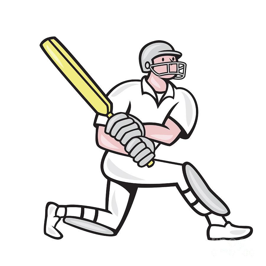 Cricket Player Batsman Batting Kneel Cartoon Digital Art