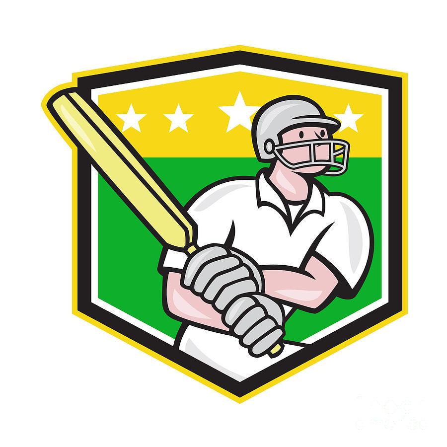 Cricket Player Batsman Batting Shield Star Digital Art