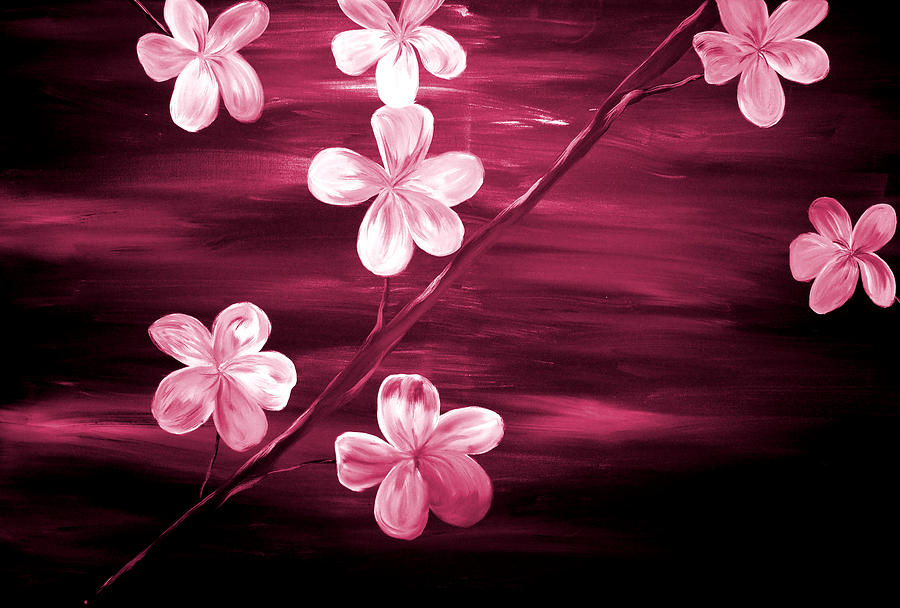 Crimson Cherry Blossom Painting