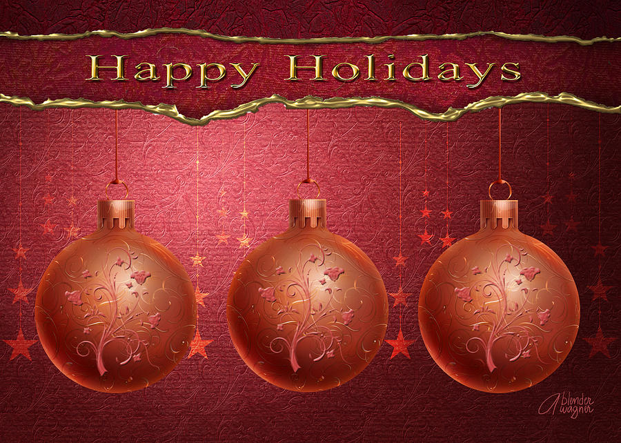Bulbs Digital Art - Crimson Ornaments by Arline Wagner