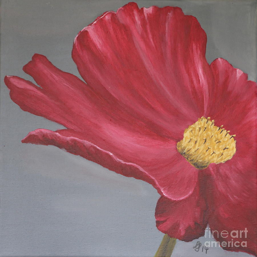 Crimson Red Garden Cosmos Painting