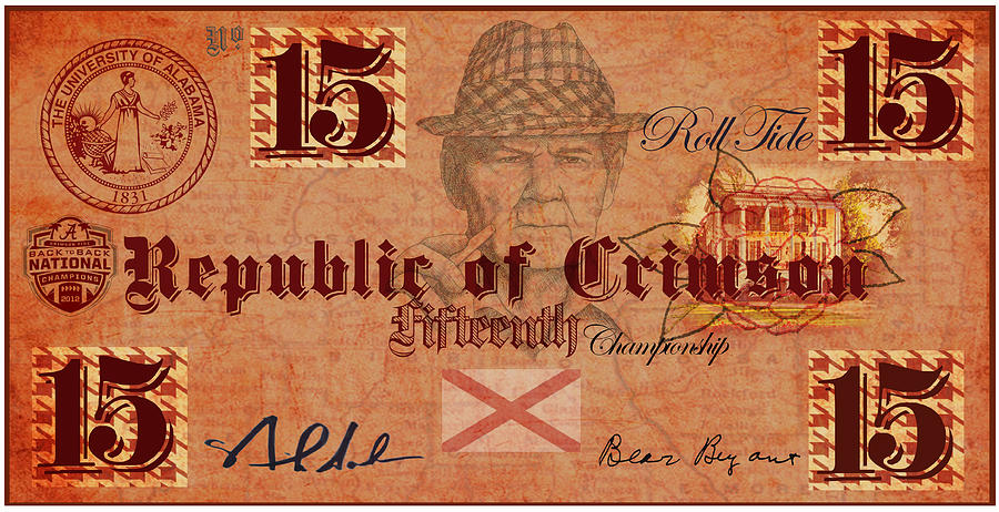 Crimson Tide Currency Digital Art  - Crimson Tide Currency Fine Art Print