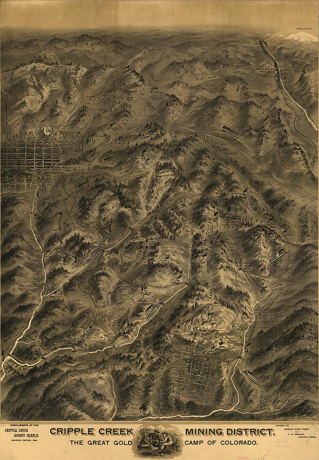 Cripple Creek Mining District Birdseye Map Drawing  - Cripple Creek Mining District Birdseye Map Fine Art Print