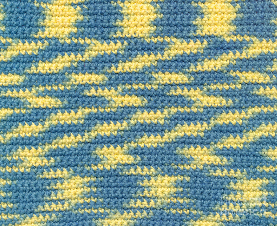 Fabric Tapestry - Textile - Crochet Made With Variegated Yarn by Kerstin Ivarsson