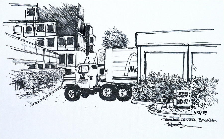Crocker Center With A Mcdonalds Delivery Truck Drawing  - Crocker Center With A Mcdonalds Delivery Truck Fine Art Print