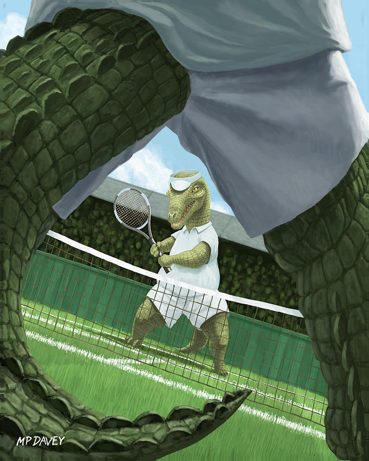 Crocodiles Playing Tennis At Wimbledon  Painting  - Crocodiles Playing Tennis At Wimbledon  Fine Art Print