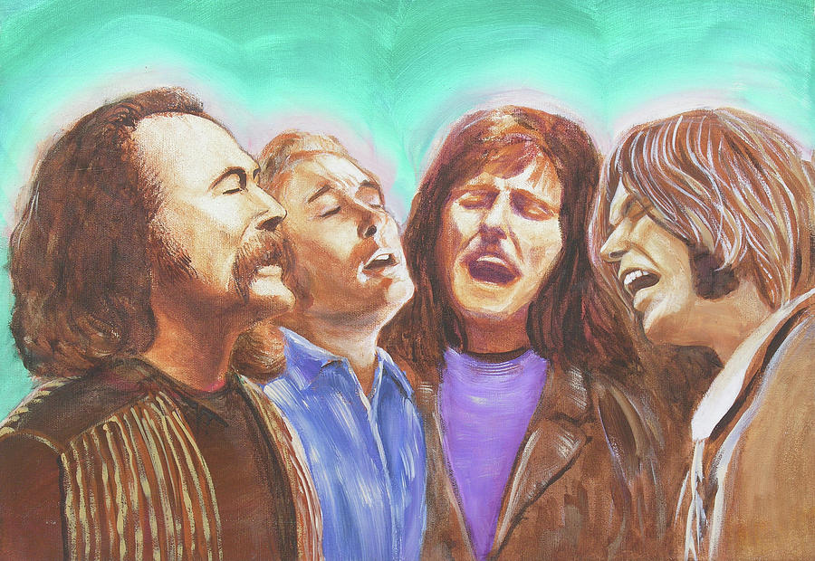 Crosby Stills Nash And Young Painting  - Crosby Stills Nash And Young Fine Art Print