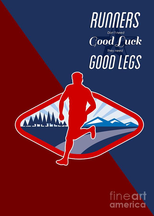Cross Country Runner Retro Poster Digital Art