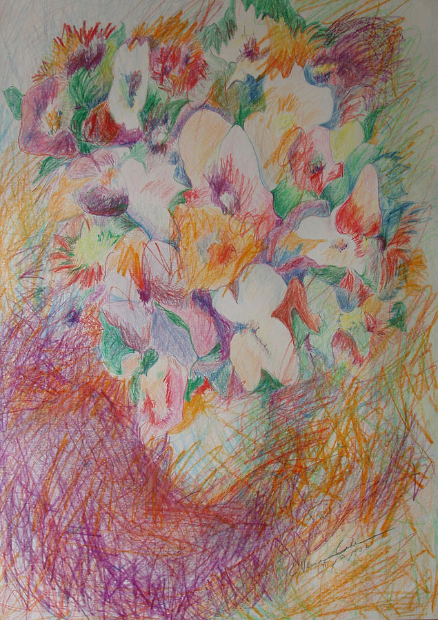 Cross Hatch Of Flowers Drawing