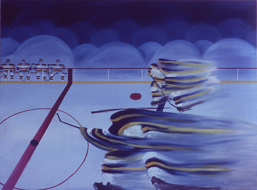 Hockey Painting - Cross Ice Pass by Ken Yackel