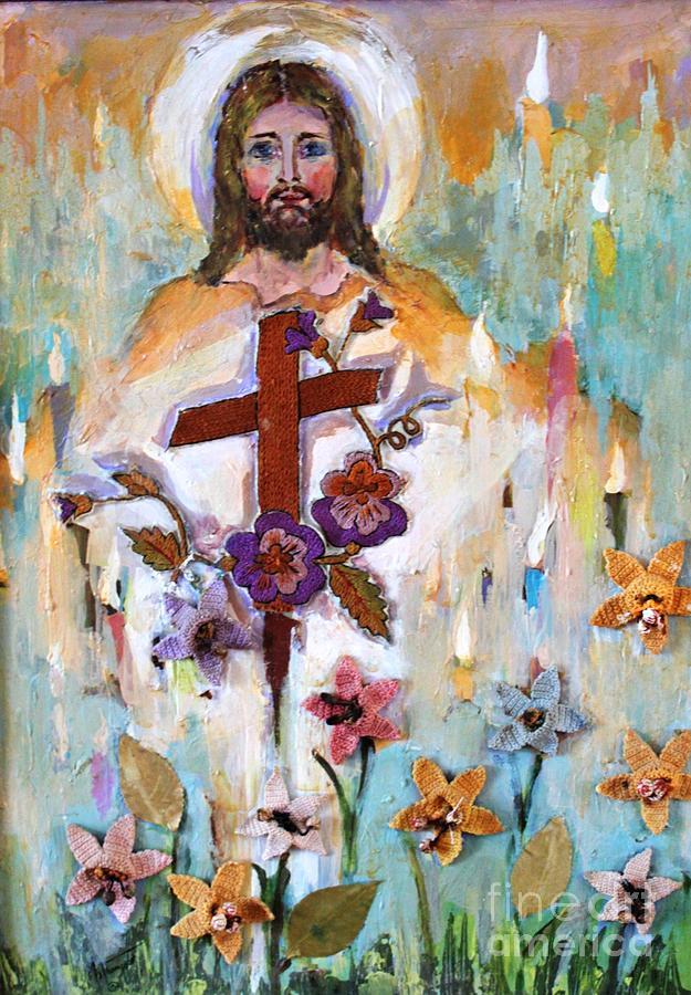 Spiritual Mixed Media - Cross Of Christ by Mary Spyridon Thompson